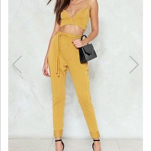 Set 'Em Straight Pinstripe Bralette and Pants Set